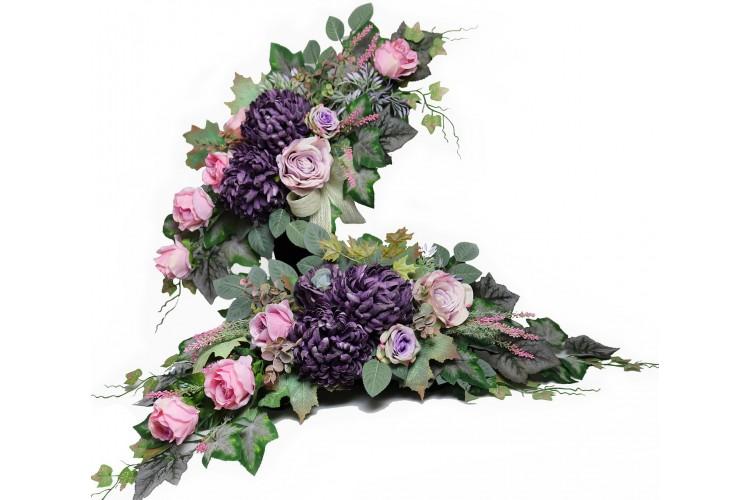 Chryzantema fiolet stonowany stroik+bukiet