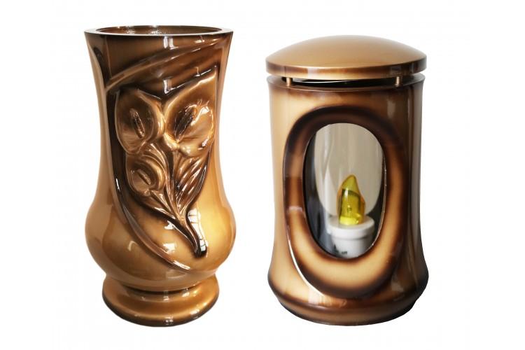 Wazon Kalla i lampion ZŁOTY cieniowany